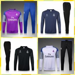 Wholesale High End Packaging - 2017 high-end sportswear joint training package 16 17 Real Madrid Black Purple the best quality Real Madrid training suit with hat set