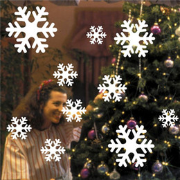 Wholesale snowflake vinyl window stickers - On Sale10 Pieces White Snowflake Wall Stickers Windows Glass Sticker Christmas Home Decorations Stickers For Kids Rooms