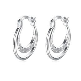 Ganchos de latón chapado online-Nuevo diseño de buena calidad plateado de plata de las mujeres de latón brillante claro zircon luna forma gancho pendiente envío gratis