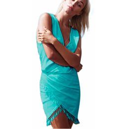 Wholesale Wholesale V Neck Wrap Dress - Wholesale- 2016 Summer Style Woman Tassel Dress Fashion Deep V-neck Sexy Beach Dresses Solid Smock Waist Front Wrap Boho Dress vestido