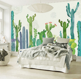 Wholesale photo print paper sizes - Large 3D Cacti Wall Murals Photo Wallpaper for Living Room Cactus Plant Wall Paper 3 D papel de parede do desktop Custom Size