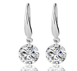 Wholesale Ct Earrings - US GIA certificate 2 ct moissanite engagement earring for women 18K white gold moissanite heart shape gemstone earring for women