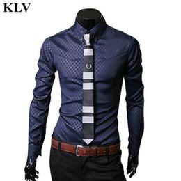 Wholesale Wholesale Men Business Shirts - Wholesale- 2016 Autumn New Brand Fashion Men Luxury Long Sleeve Tops Shirt Blouse Male Slim Fit Laple Business Stylish Dress Shirts Oct19