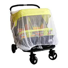 Wholesale Twins Trolley - Wholesale- High Density Anti-Mosquito Nets Twin Baby Stroller Children Stroller Baby Car Twins Trolley Special Nets X2