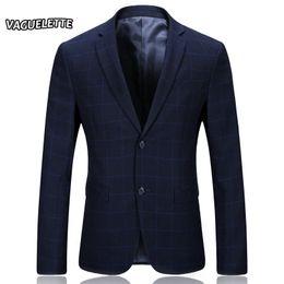 Wholesale plaid suit men vintage - Wholesale- Dark Blue Men Printed Blazer Formal Skinny Plaid Men Suit Jacket Vintage Casual Blazer Homme New Arrivals 2017 Winter M-3XL