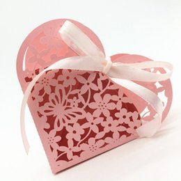 Wholesale Small House Box - Anniversary party favor box pink white purple flower laser cutting small candy gift boxes party supply