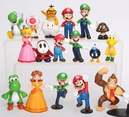 Wholesale Luigi Figure - Super Mario Bros 18 pcs PVC Figure topper Super Mario nds Luigi Peach yoshi Dinosaur Action Figures Toys
