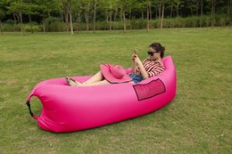 Wholesale Inflatable Furniture For Adults - Wholesale- Inflatable Sofa Outdoor Air Sleep Couch Portable Furniture Imitate Nylon External Internal PVC for Summer Camping Beach Indoor