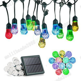 Wholesale Dc Powered Light Bulbs - 2017 NEW LED Solar String Light Solar Powered Outdoor Christmas Fairy Lights 12 Bulbs Raindrop Garden Party Wedding Decoration Light MYY