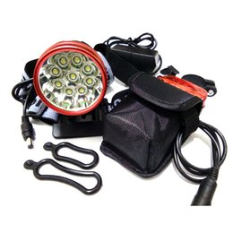 Wholesale High Power Led Bike Lights - 9T6 Led Headlamp Bike Light 9 * XM-L T6 3 Modes 15000LM Front Bicycle Light Super Power with 6*18650 Battery Pack & Charger