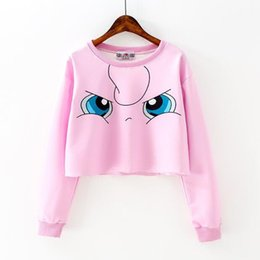 Wholesale Korea Cartoon Shirt - Harajuku Short T Shirt Women Casual Kawaii Cartoon Pikachu Crop Top 2017 Autumn Korea Girl Long Sleeve Slim Tops