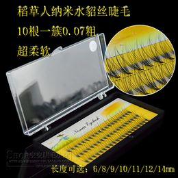 Wholesale Eyelash Extension Lashes C Curl - Wholesale- 1 pc lot 6 8 9 10 11 12 14mm C shape Curl Mink Eyelash Extension Thin and Soft Materail 3d 6d la shes Tray Lash