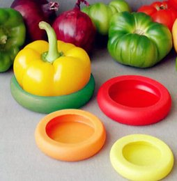 Wholesale Kitchen Fruit Vegetable Storage - 4Pcs  Set Food Huggers Fruits and Vegetables Storage Containers Food Savers Flexible Silicone food Storage Cover Kitchen Tool 100set KKA1423