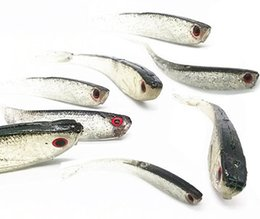 Wholesale Soft Simulation Fishing Fish Lures - Fishing Soft Lure Bait Super Natural Attractant Artificial Black Simulation Fish Catch 7cm 10cm 5 Pieces Bag