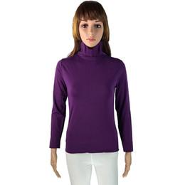 Wholesale Plain Turtleneck - Turtleneck Woman Tshirt Top Plain T Shirt Women Stretchable Tee Shirt Femme Manche Longue Camisa De T Das Mulheres Vestiti WTS004
