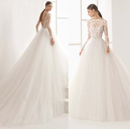 Wholesale Transparent Beach Dresses - tulle skirt long sleeves princess wedding dresses 2018 rosa clara wedding dresses boat neckline transparent lace bodice chapel train