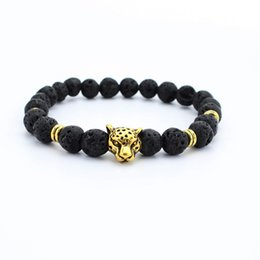 Wholesale Leopard Bracelet Wholesale - New male bracelet Natural Stone Alloy silver gold leopard 8 mm beads with volcanic rock men Jewelry Lava Yoga Bracelets gift