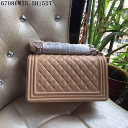 Wholesale Large Suede Handbag - Classic Le Boy Chain Bag sheepskin Large Flap Bag 25cm apricot 2017 Famous Luxury Women Genuine Leather Handbag Original Quality