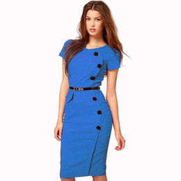 Wholesale Slim Formal Dress - Free shipping 2017 Fashion Women Formal Pinup Bodycon button short sleeve slim fit pencil midi Summer Plus Size Dresses for wholesale Retail