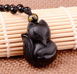 Wholesale Silver Fox Coral - 100% Natural Obsidian Black Jade Agate Pendant Lucky Love Fox Necklace A19