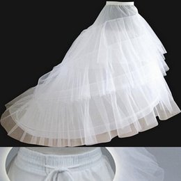 Wholesale Trumpet Gown Wedding Petticoats - Free shipping Petticoats with Train 2017 Newest Gorgeous White Wedding Gown Crinoline Underskirt 3-Layers Bridal Accessories