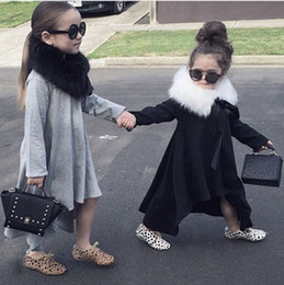 Wholesale Girls Long Tail Dress - Girls fashion swallow tail Dress solid color cotton Long sleeve dress grey black 2colors little trendsetters outfits for 1-3T