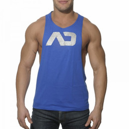 Wholesale Low Cut Tank Tops - Wholesale- Men's Gyms stringer Tank Tops Low Cut Vest Sexy body engineers Men's Tanktop Fitness singlets Sporting sleeveless shirt