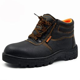 Wholesale Steel Toed Boots - Wholesale- 2016 New Breathable Men Work&Safety Shoes Steel Toe Cap Wear-Resistant Oil Waterproof Men Ankle Boots Welding Shoes Big Size