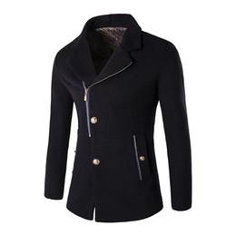 Wholesale Mens Wool Jacket Pea Coat - Wholesale- Mens pea coat 2016 wool jacket men turn down long sleeve woolen coat male Oblique zipper wool & blends overcoat men F01 z5