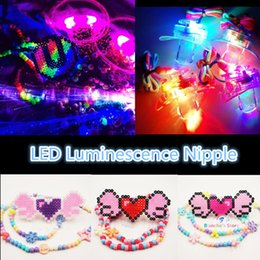Wholesale Rave Necklace - Funny Led Glow Pacifier Cartoon Nipple Whistle Necklace Light Up Flashing Bubble Rave Party Blinking Key Finder Party ElectronMusis Featival