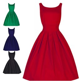 Wholesale Rockabilly Retro Dress Vintage - Summer Style Vintage Vestido Sleeveless O-neck Women Dresses Retro Rockabilly Audrey Hepburn Big Hem Rockabilly Dress Plus Size