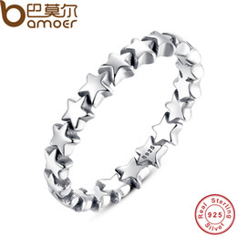Wholesale Wedding Trails - yizhan BAMOER Star Trail Stackable Finger Ring For Women Wedding 100% 925 Sterling Silver Jewelry 2016 New Collection PA7151