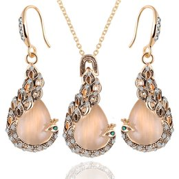 Wholesale Opal Jewellery Sets - Fine Jewelry sets 2015 New Fashion Rose Gold Filled Pink Opal Crystal Peacock Necklace Earring Wedding jewellery Set for women