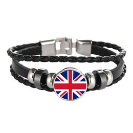 flags chile Promo Codes - Leather Bracelet Snap Punk United Kingdom Hungary  Chile Flag Glass Cabochon e345b6934
