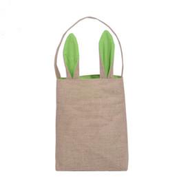 Tienda hermosa online-Bolso plegable reutilizable hermoso del conejito de la lona del algodón del regalo del día de Pascua del bolso de compras de la lona plegable al por mayor