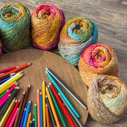 fios de fantasia lenço Desconto 200 g / lote novo de Alta Qualidade Espaço Tintura Fios para Tricô Fios Fantasia Crochet Fio para Cachecol Agradável Cores Artesanato Artesanato
