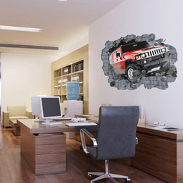 fondo de pantalla para fotos Rebajas Dibujos animados super grande grande creativo 3D etiqueta de la pared del coche papel pintado del pvc rollos imagen de la pared para el dormitorio decoración del hogar 70 * 100 cm