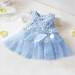 Wholesale Cute Casual Dresses For Kids - Wholesale- New baby girl Party Princess Dresses, Infant Baby Girl Tutu Dress vestidos for Kids Cute Lace Flower sleeveless cute bow Clothe