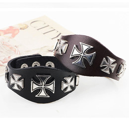 Wholesale Ancient African Jewelry - Cool Punk Cross Rivet Metal Retro Wide Black Brown Leather Cuff Mens Wristband Bracelet Bangle Ancient Rome Style Jewelry