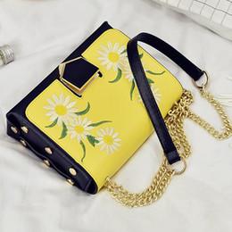 Wholesale Luxury Bag Summer - summer sun flower embroidery bag luxury leather handbags women brand designer chain Bag Shoulder Messenger Bags ladies purses