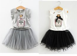 Wholesale Beaded Wholesale T Shirts - Girls Tutu Dresses T-shirt +Skirt Baby Blingling Princess Tutu Dresses Kids Print For Biger Girl 2017 Party Clothes Big Size 100cm-140cm