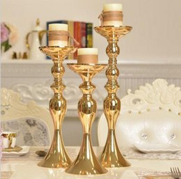 Wholesale Wedding Silver Metal Candle Holders - Gold Metal Candle Holders for wedding home decoration Flowers Vase Candlestick Road Lead Candelabra CentrePieces flower display rack 50cm