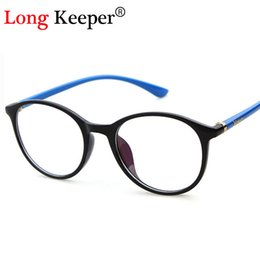 Wholesale Nail Decoration Designer - Wholesale- Long Keeper Classic Women Round Eyeglasses Frame Brand Designer Fashion Men Nail Decoration Optical Glasses Reading Glasses 6014