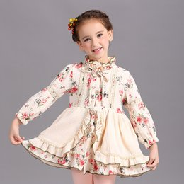 Wholesale Printed Princess Dresses Holiday - Rural Style Girl Dress Floral Print Beige Color Fall Cotton Princess Vintage Party Dresses Christmas Children Button Design Holiday Clothe