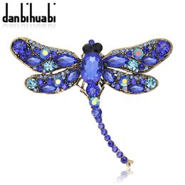 Wholesale Vintage Dragonfly Brooch Rhinestones - Wholesale- Hot 2016 New Fashion 5 Colors Vintage Lovely Dragonfly brooch colorful Crystal Rhinestone pins brooch animal