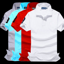 Wholesale Men S Big Collar Shirts - POLO Shirt Men Summer Casual Cotton Collar Short Sleeve Shirts High Quality Big Horse Embroidery Polo Shirts Solid Polo Men's clothing brand