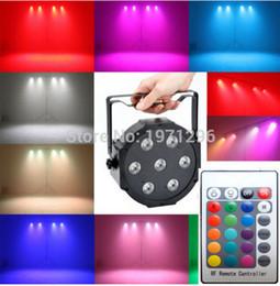 Wholesale Mini Led Par Can - 4pcs Wireless remote control LED Mini PAR light 7X12W DMX rgbw 4in1 quad led flat par can stage lighting