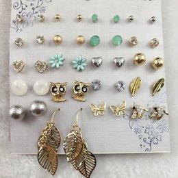 Wholesale Blue Bird Stud Earrings - 20 Pairs set Cute Fashion Bird Owl Earring Blue Daisy Flower Butterfly Ear Studs Small Stud Earrings Set For Women Bijoux Brinco