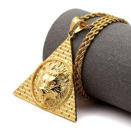 Wholesale Pyramid Silver - 2017 Necklace Egyptian Pyramid Lion Head Pendant Titanium Steel Gold Color Bling Charm Chains Women Men Lucky Hip Hop