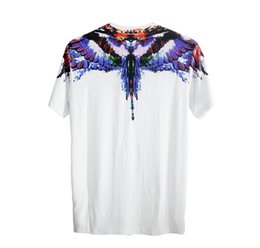 Wholesale White Cotton Eagle Print Shirt - Mar celo Bur lon T Shirts Men Women Eagle Feather Angle Wings Italy High Quality Hip Hop Fashion Style London MB 3D Tee Shirt Tops